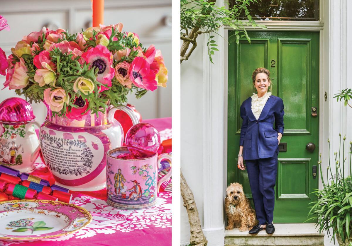 pink Christmas flower arrangement. (Right) portrait of garden designer Butter Wakefield