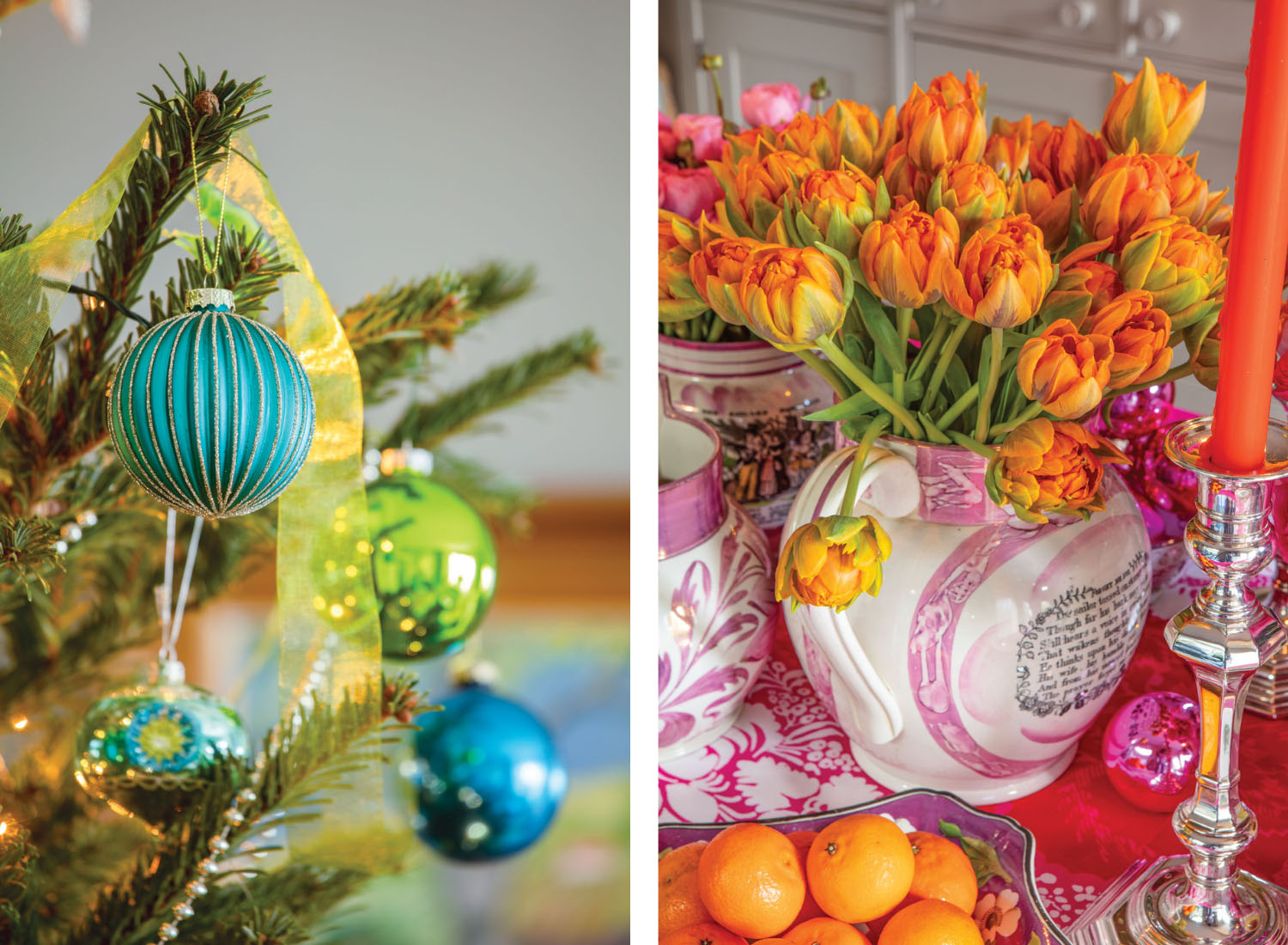 Blue and green ornaments on a Christmas tree; yellow-orange tulips in a vase