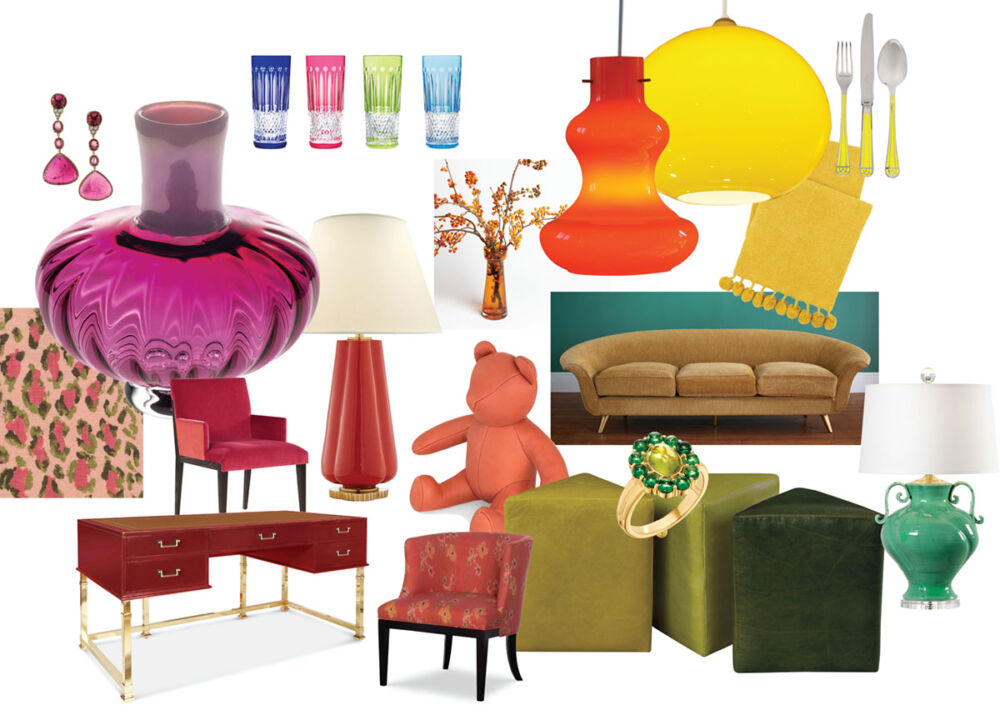Colorful Home Decor & Accessories for 2021 - an assortment of furniture, glassware, lighting, and jewelry in a spectrum of colors from red to orange to yellow to green