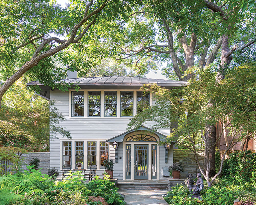 front view of a historic Highland Park home featuring interiors by Denise McGaha