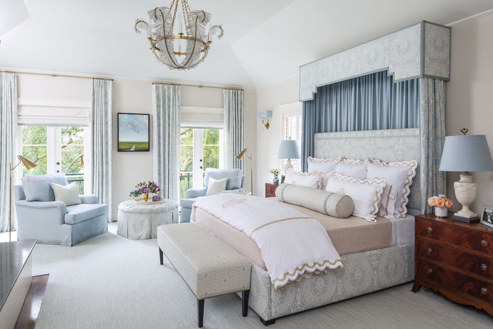 soft white and blue main bedroom by Emily Ruddo
