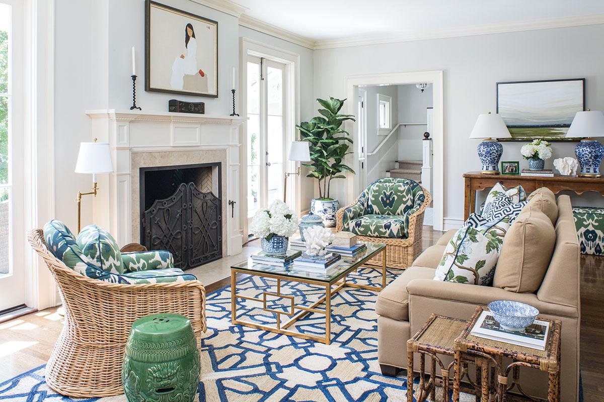 Pasadena family room designed by Emily Ruddo
