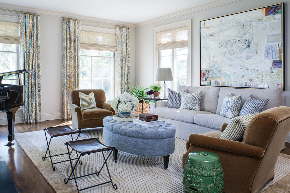 serene blue and neutral living room designed by Emily Ruddo