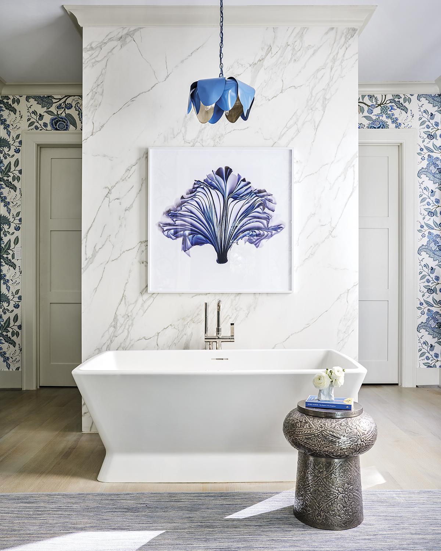 blue-and-white luxury bath designed by Lucas/Eilers Design Associates