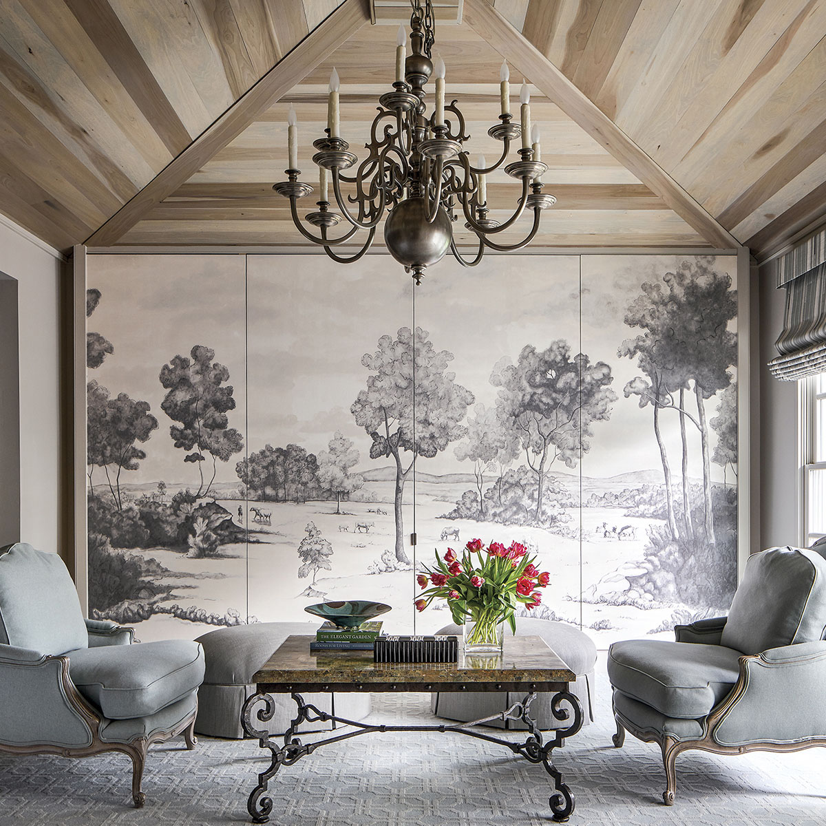 Family room with concealed TV cabinet designed by Lucas/Eilers Design Associates