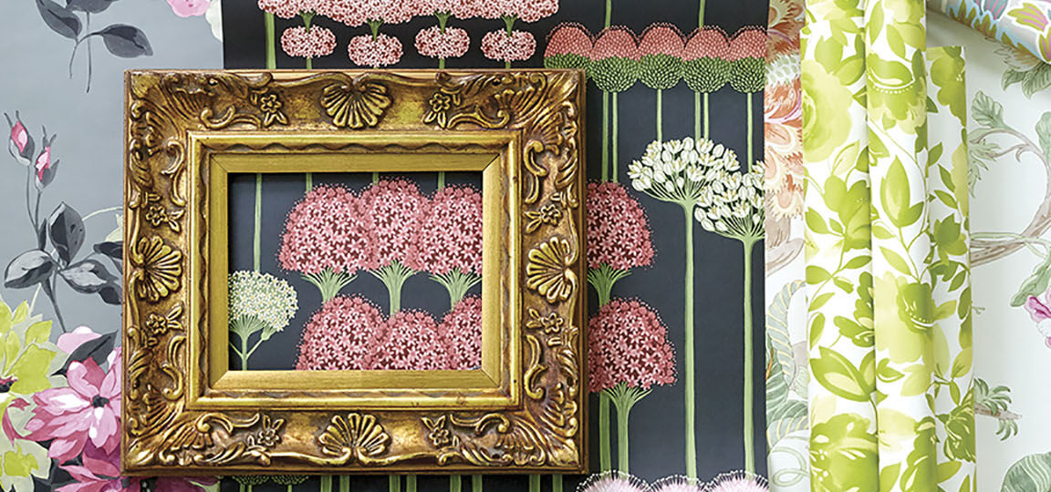 5 patterns of floral wallpaper with pink and green colorways, and white, gray and black backgrounds