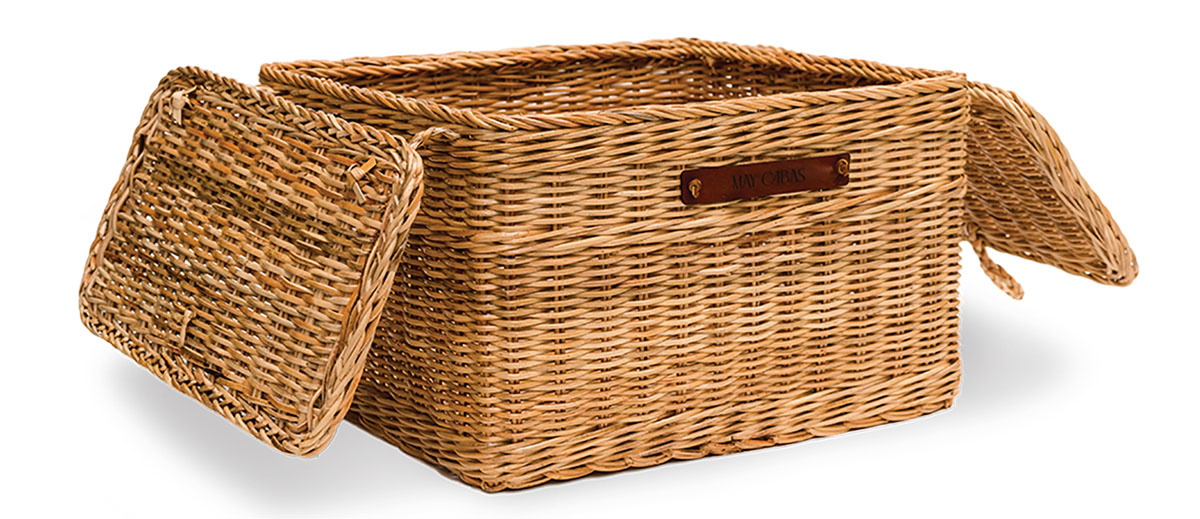 May Cabas Plus Grand Bicycle Basket, pictured with the lid open