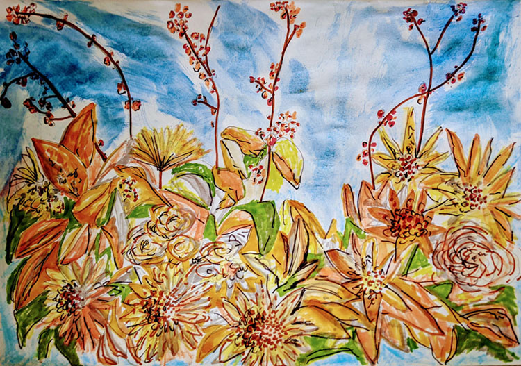 pencil and watercolor sketch by artist Jan Erika based on a floral design by The Flower Hat