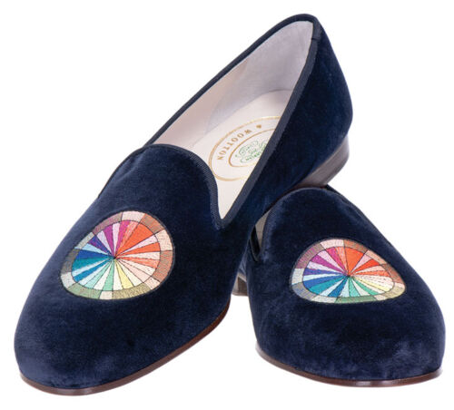 black slippers with color wheel emblem