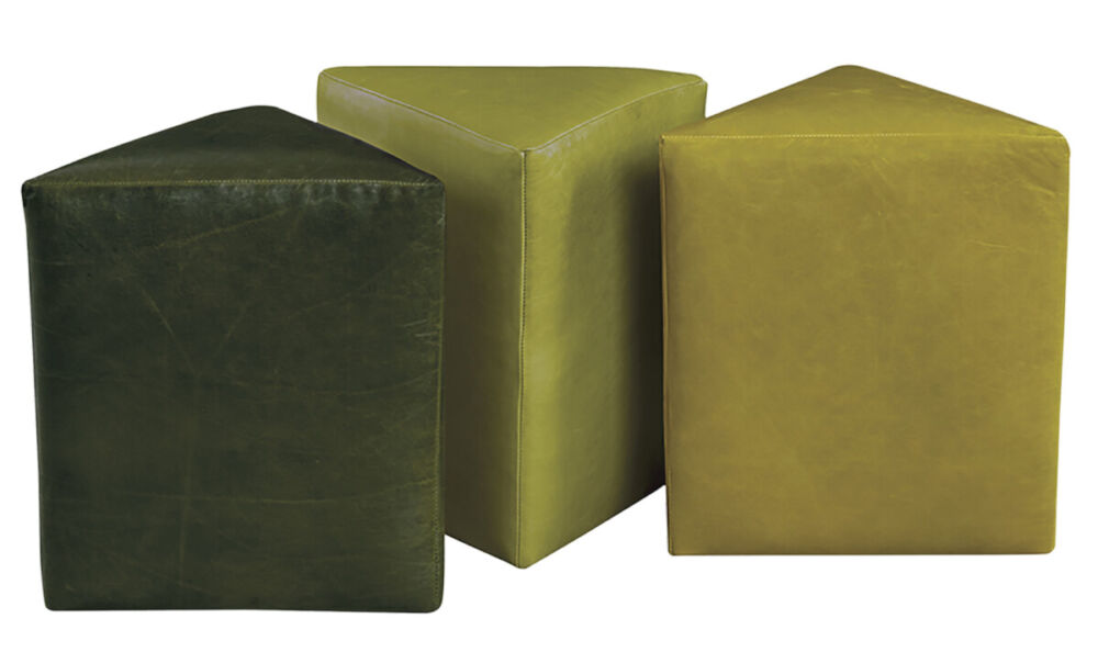 a trio of triangle shaped ottomans in various shades of green