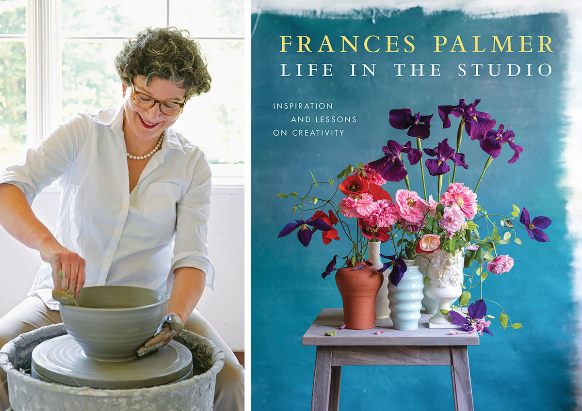 Frances Palmer working at her potters wheel. (Right) Book cover for LIfe in the Studio, featuring a collection of floral arrangements on a stool against a blue background. (Right) book cover for Frances Palmer: :Life in the the Studio