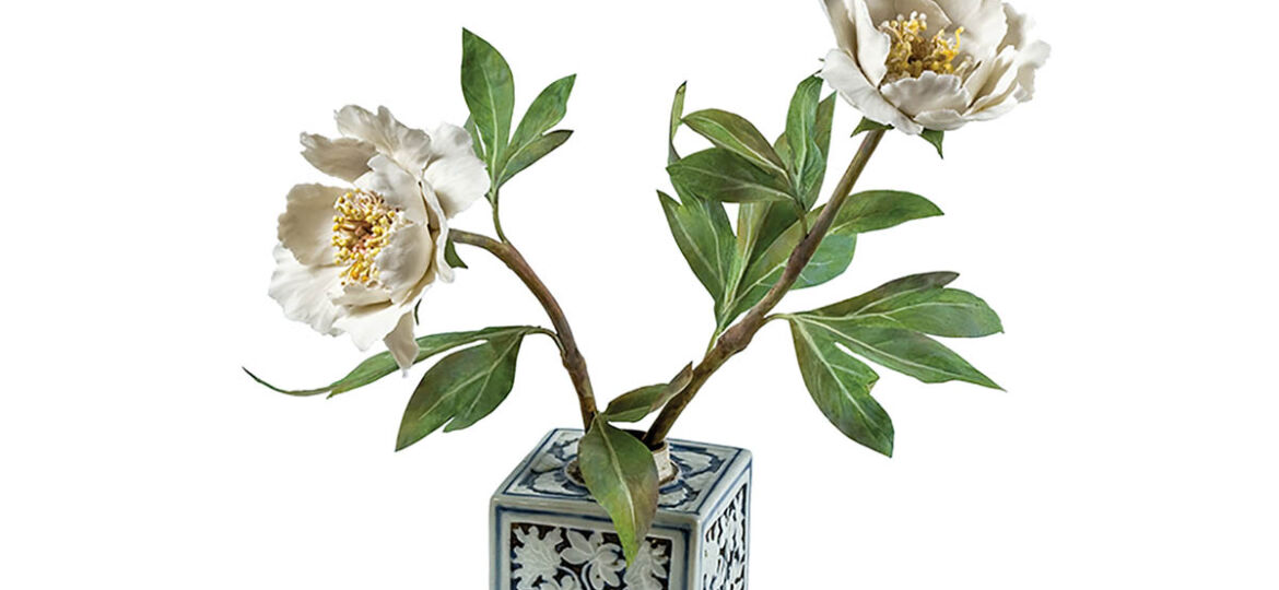 Tree peonies in an antique Chinese tea caddy by porcelain sculptor Vladimir Kanevsky