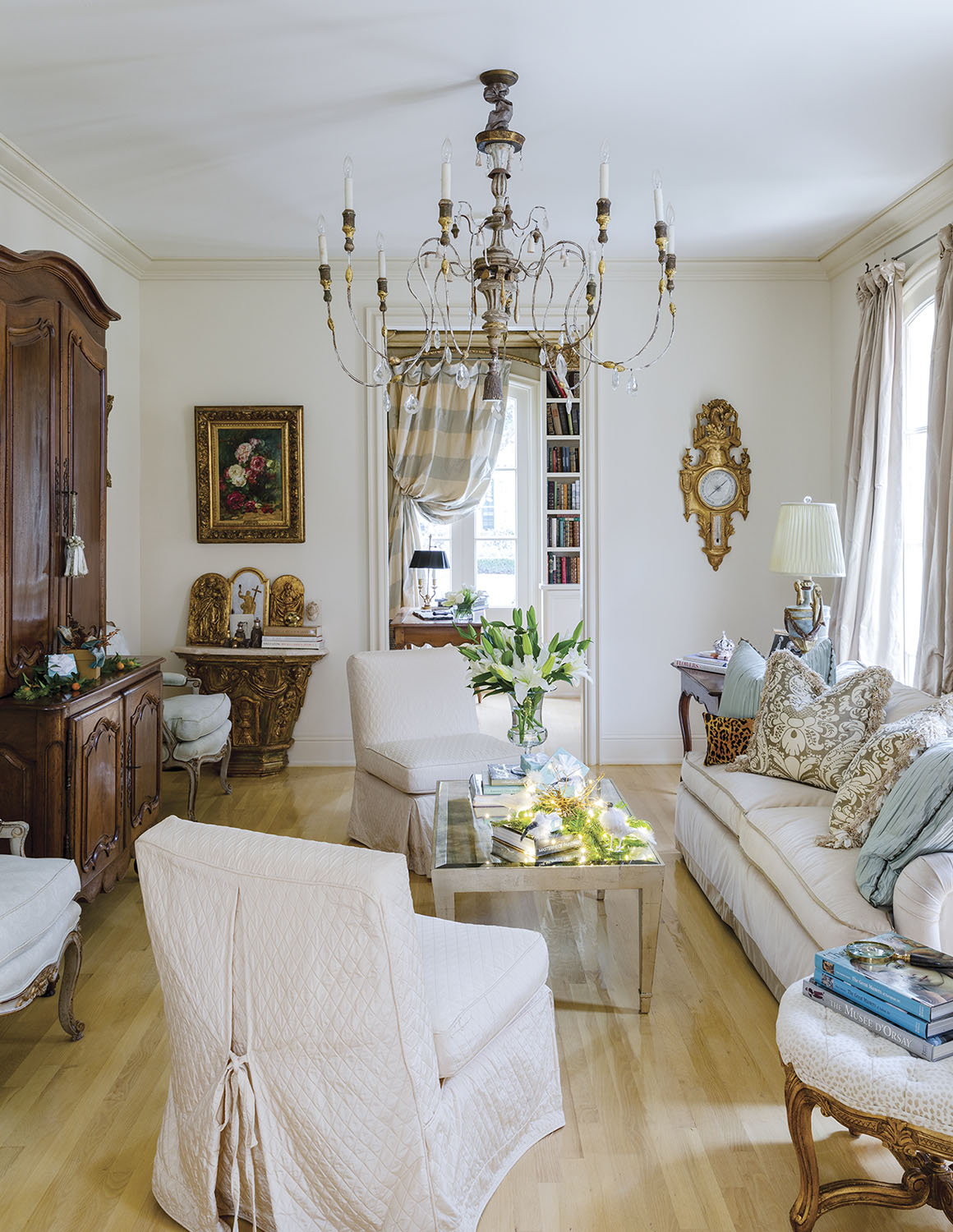 French provencal-style living room at home of Alex Rico in New Orleans