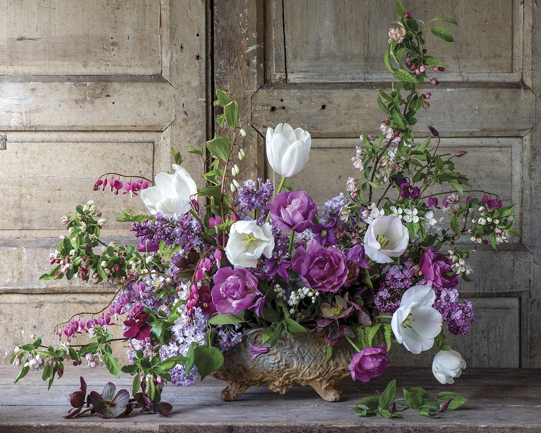 purple spring floral arrangement by Sandra Sigman
