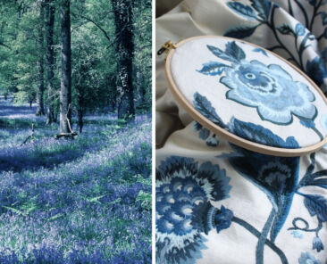 """Photo of blooming Blue Bells (hyacintboides non-scripta) covering the woodland floor, juxtaposed with Suzanne Tucker's """"Gertrude"""" embroidered floral fabric in the color """"blue bell"""""""