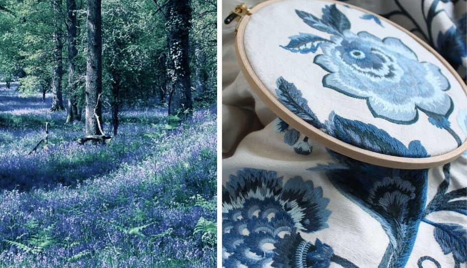 "Photo of blooming Blue Bells (hyacintboides non-scripta) covering the woodland floor, juxtaposed with Suzanne Tucker's ""Gertrude"" embroidered floral fabric in the color ""blue bell"""