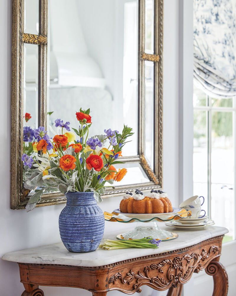 Spring floral arrangement for an entry table by The French Potager