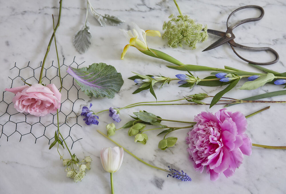 Clippers, chicken wire and flowers for a step-by-step floral tutorial by Martha Whitney Butler of The French Potager