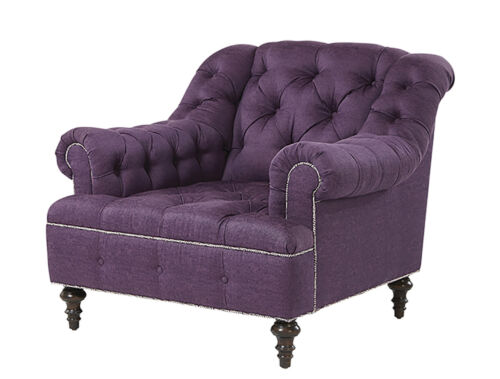 tufted aubergine-colored club chair