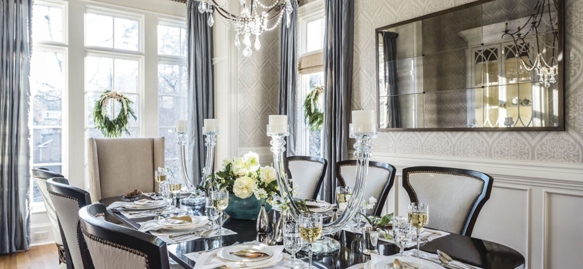 holiday decor for a dining room designed by Vicky Serany