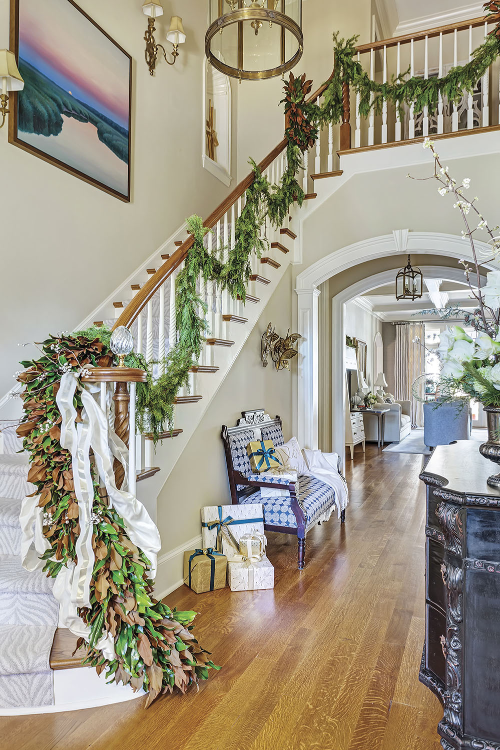 magnolia garland on staircase