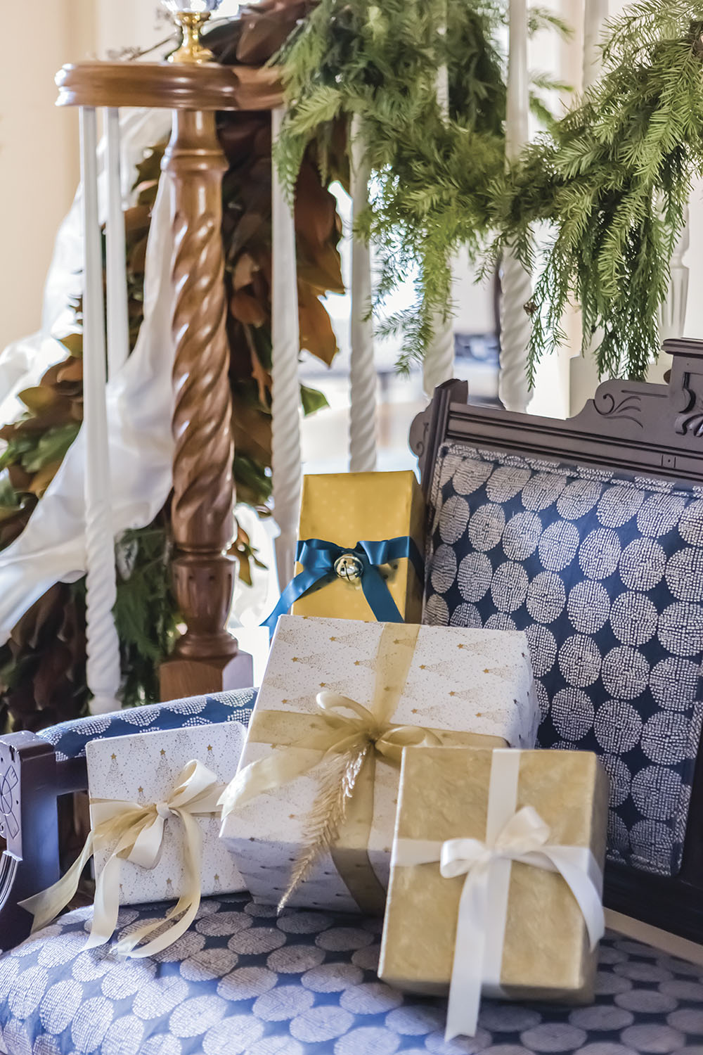 wrapped presents, reupholstered antique