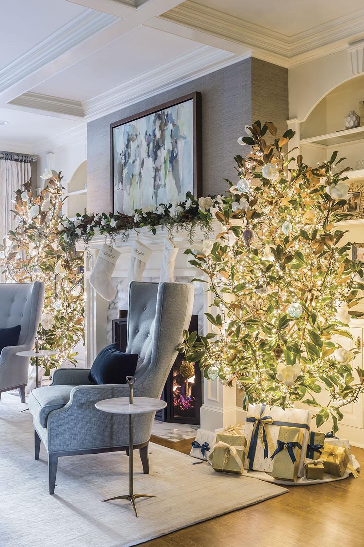 living room holiday decor; interior design by Vicky Serany