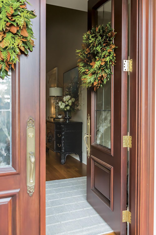 front door wreaths on double doors