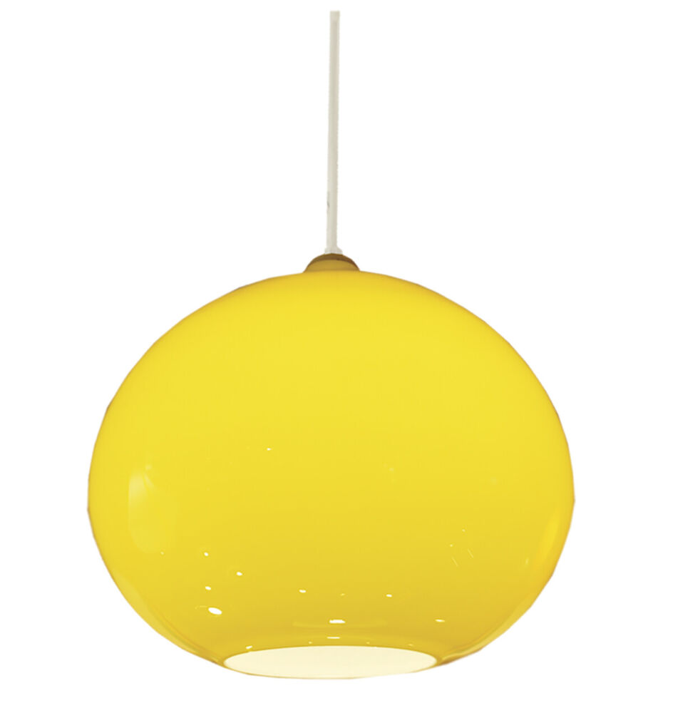 Colorful Home Decor and Accessories for 2021: color yellow. Vintage globe-shaped yellow glass pendant light