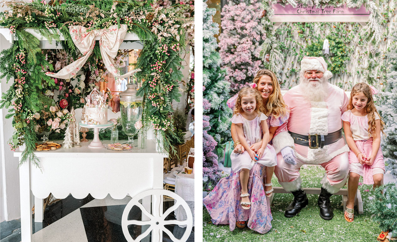 A cart decorated with a canopy of flowers, a large bow, and an elaborate cake stands outside the shop. (Right) pink Santa Claus