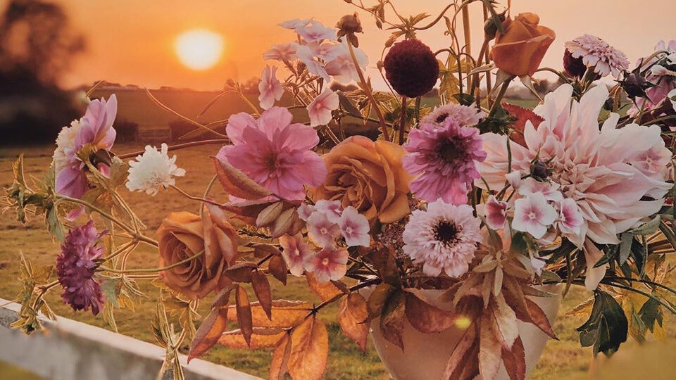 Top 20 Instagram Posts of 2020, fall floral arrangement by @pigpenflowers photographed against a sunset by @jannelford