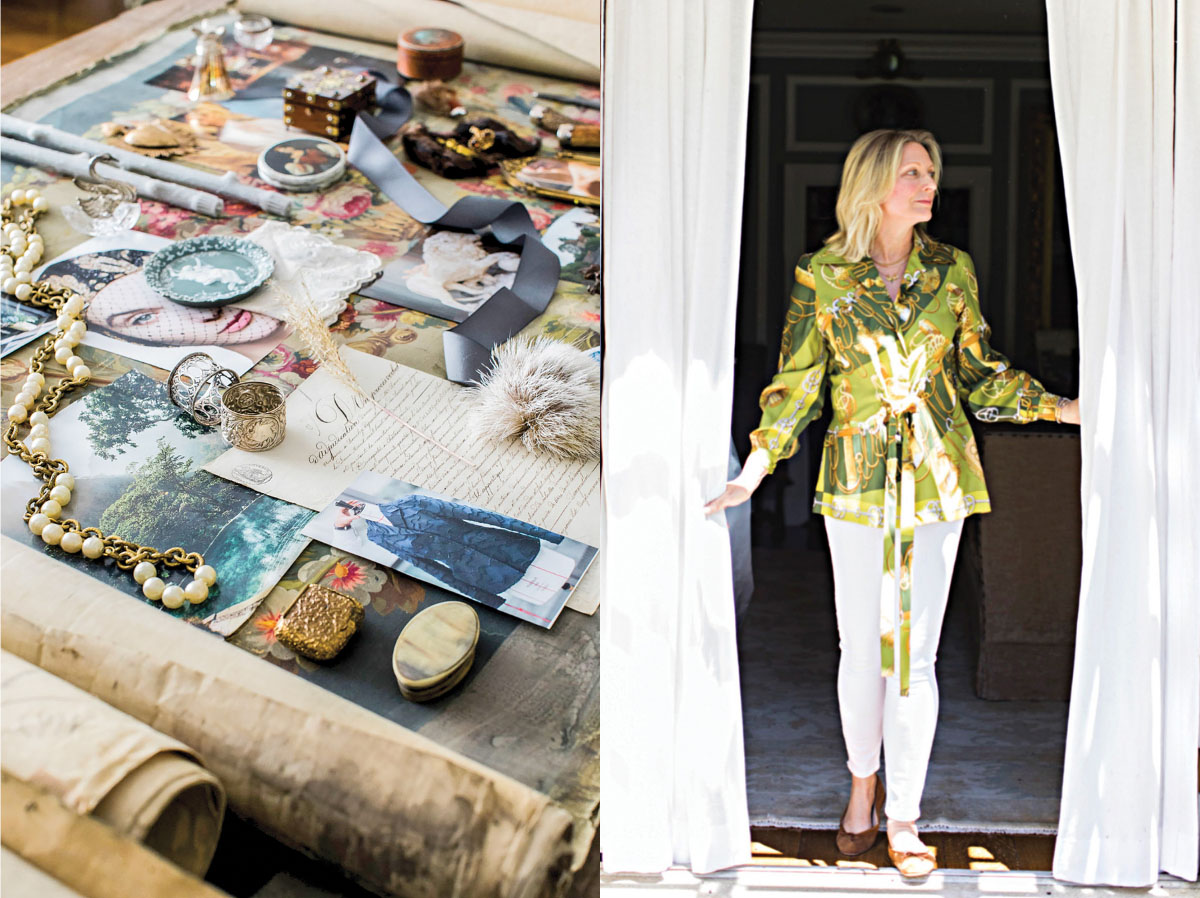 portrait of Bethany Berk, founder of Marchioness Home & Garden, and one of her mood boards featuring photos and assorted vintage jewelry and trinkets