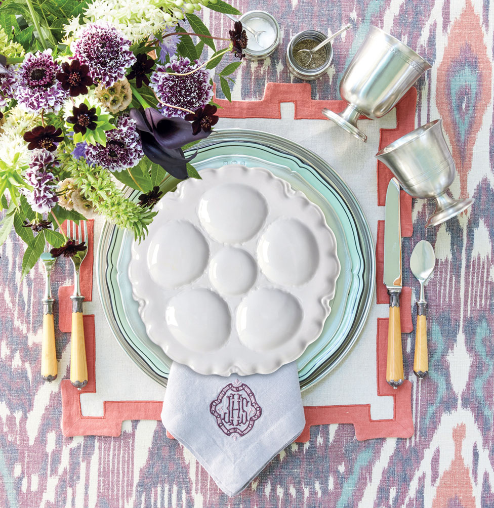place setting featuring a vintage oyster plate from Replacements Ltd