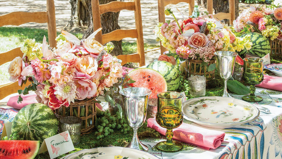 Outdoor dinner party table
