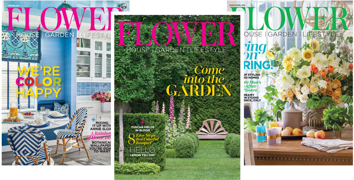 a trio of Flower magazine covers featuring, from left to right, a blue kitchen, an elegant garden, and a dining room table topped with a lush floral arrangement