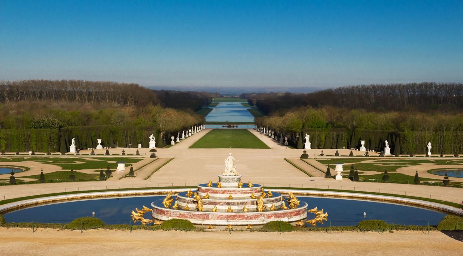 The Latona Fountain in the Garden of Versailles in France. The Garden of Versailles is on the UNESCO World Heritage List.