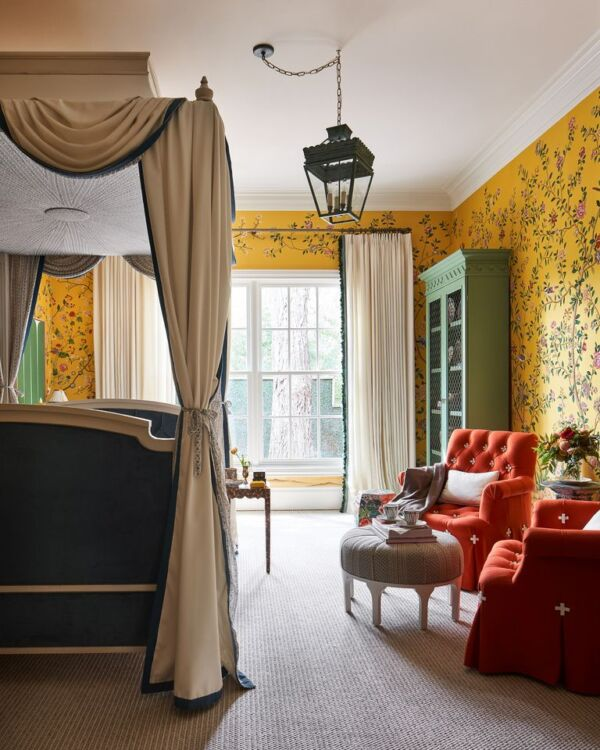 Bedroom with bright yellow floral wallpaper designed by Dina Bandman for Kips Bay Dallas showhouse 2020