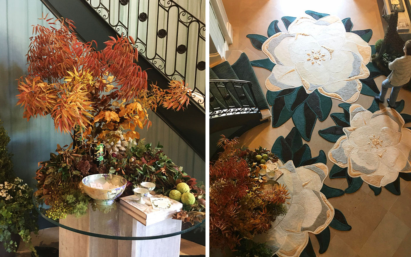(left) photo of a large autumn floral arrangement on an entry table. (right) View of 3 magnolia-shaped rugs in foyer from perspective of second floor
