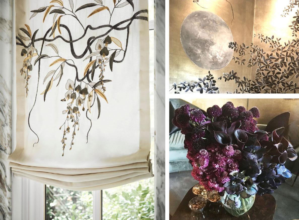 closeups of de Gournay embroidered Roman shade; full moon design on scenic wallpaper; vase of dark purple (almost black) flowers