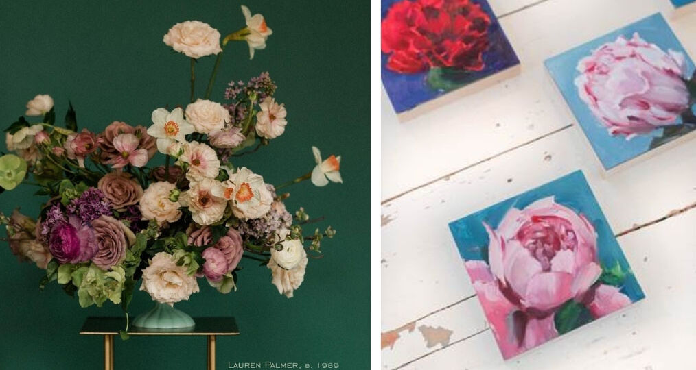 Flower Power: Floral design by Lauren Palmer dedicated to Greenwood, Tulsa. Photo via @thewildmother. Right: paintings of peonies by Amy R. Peterson