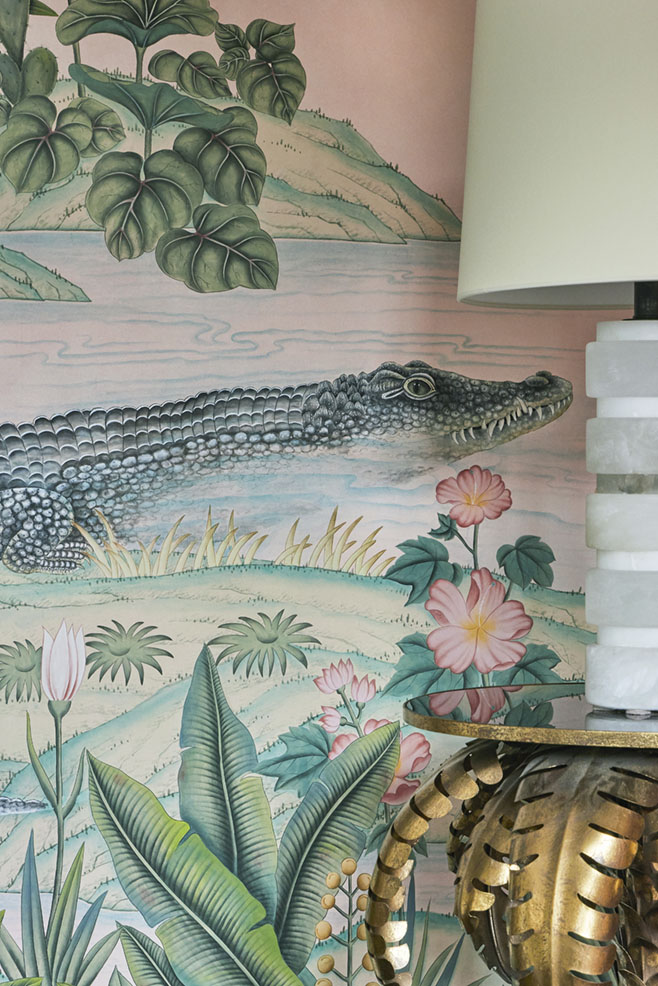 detail of handpainted alligator in scenic de Gournay wallpaper at The Colony Hotel in Palm Beach