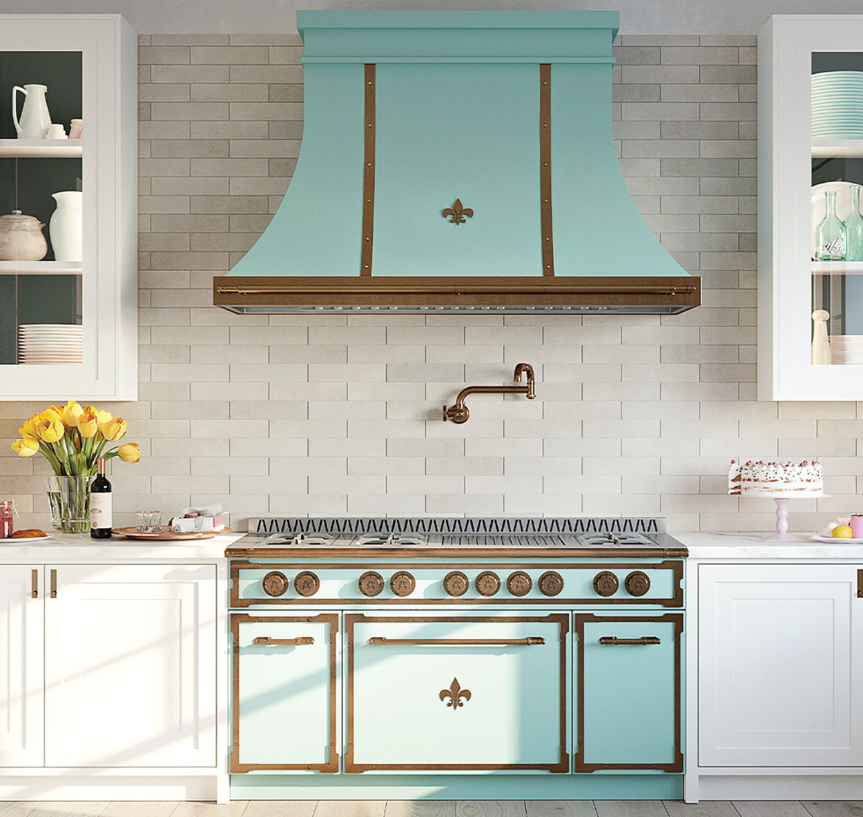 kitchen with white cabinets, white subway tile walls and backsplash, and retro style Tiffany blue French range and hood from L'Atelier Paris