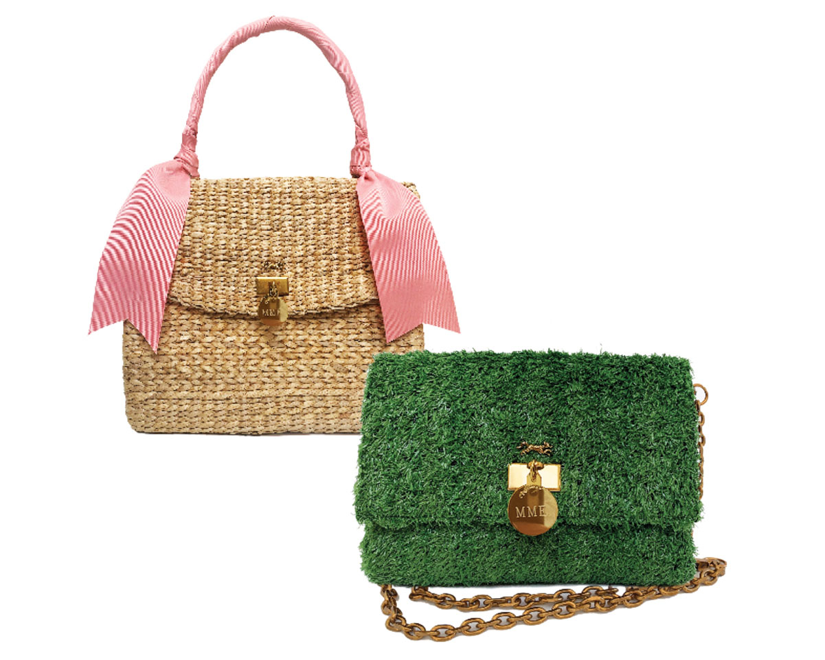 """MINK """"grass"""" clutch and """"Lady Jane"""" woven bag with pink handle"""