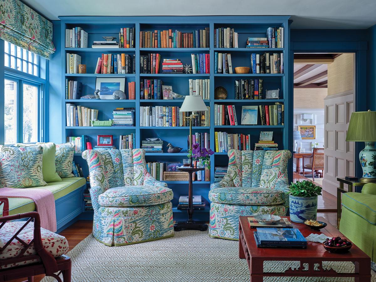 blue home library designed by Meg Braff
