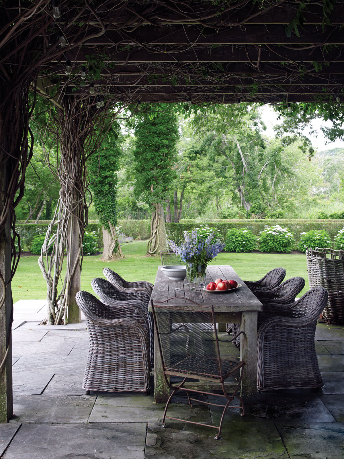 wisteria-covered outdoor dining terrace