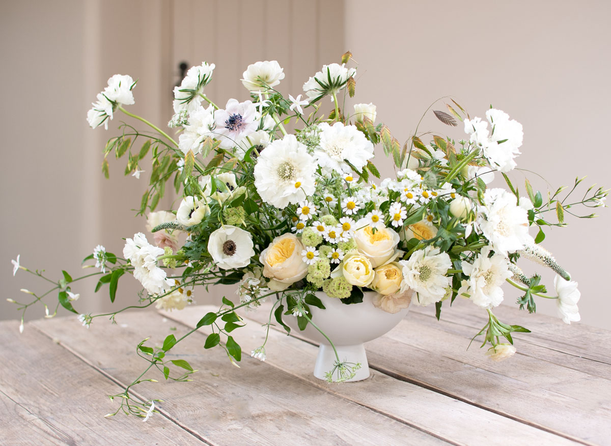 garden-style floral arrangement in a compote bowl by floral designer Philippa Craddock