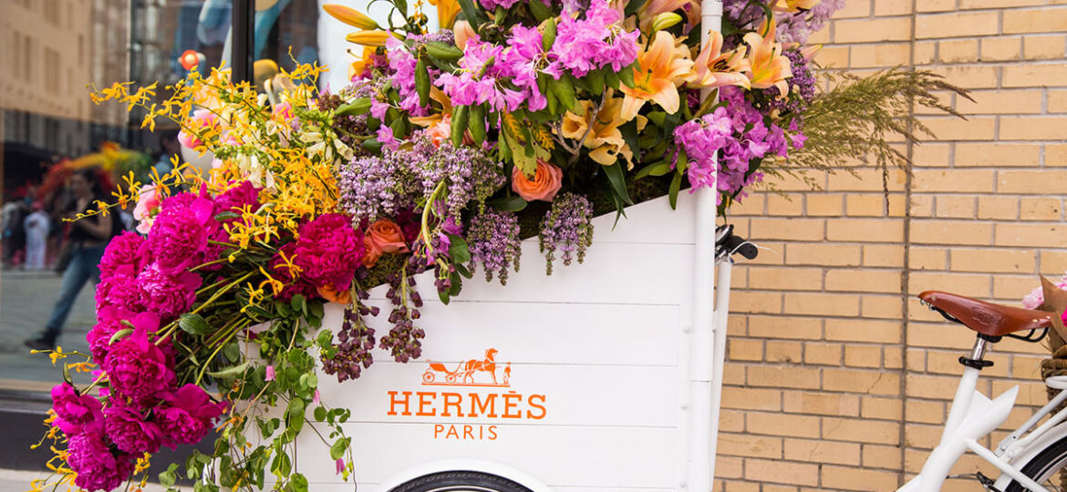 Hermes street cart filled with flowers, a floral design by Renny and Reed for the inaugural L.E.A.F. Flower Festival in New York City
