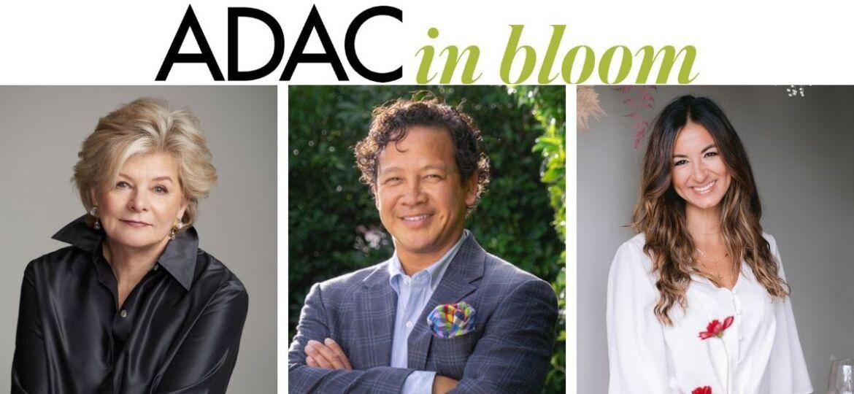 Portraits of ADAC in Bloom 2021 speakers, interior designer Charlotte Moss, landscape designer Fernando Wong, and floral designer Paulina Nieliwocki of Blue Jasmine