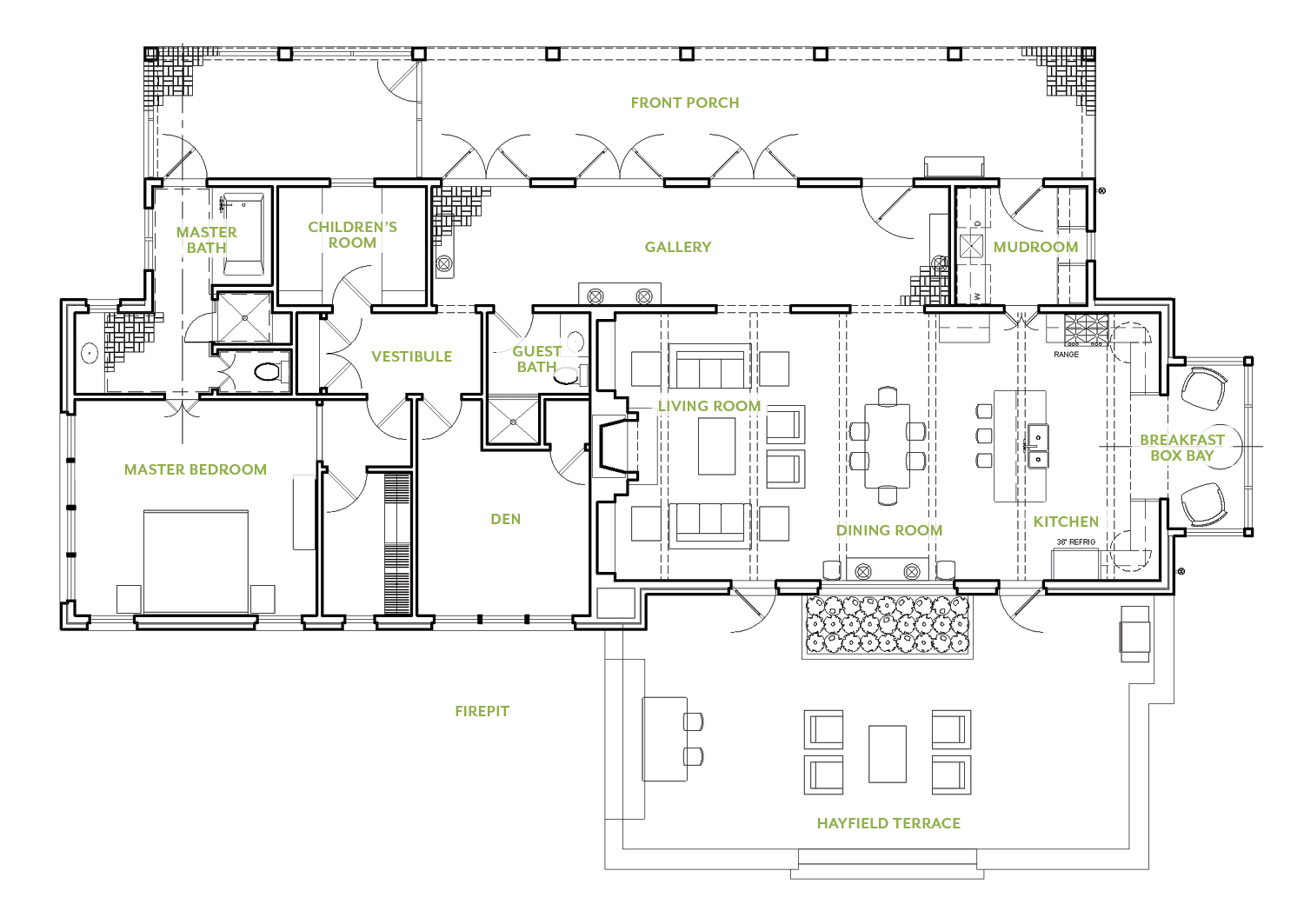 Floor plan for the 2021 Flower magazine's showhouse at Brierfield Farm n Bibb County, AL