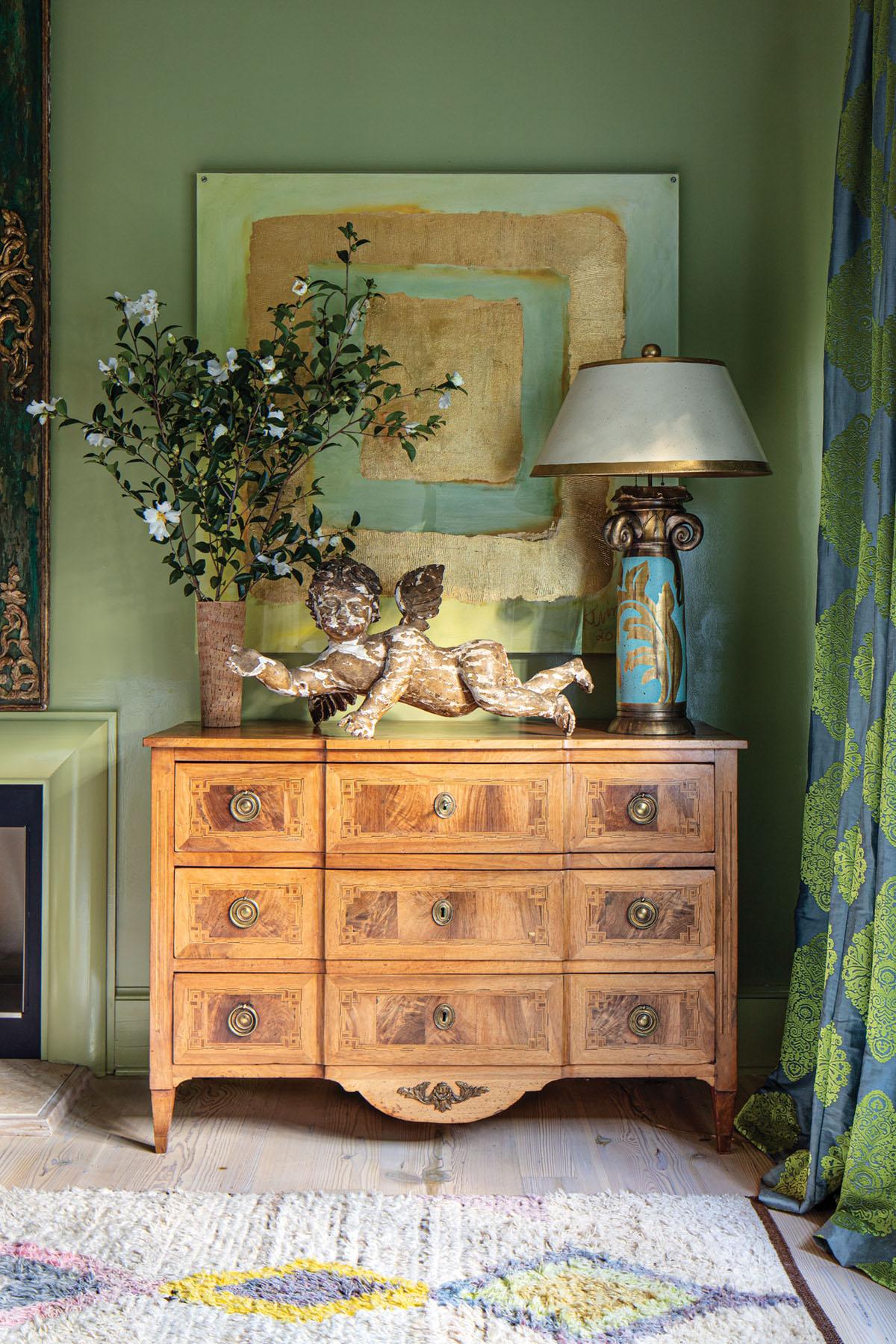 antique chest, cherub